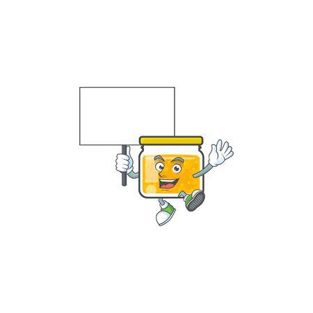 Sweet jam cartoon character with mascot bring board