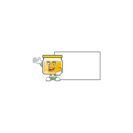 Sweet jam cartoon character with mascot with board Ilustrace