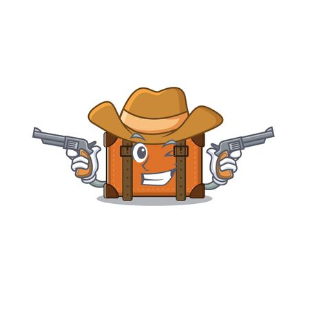 cowboy cute suitcase with the cartoon shape vector illustration