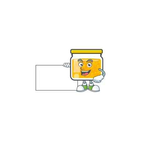 Sweet jam cartoon character with mascot grinning with board