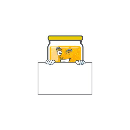 Sweet jam cartoon character with mascot squinting with board vector illustration