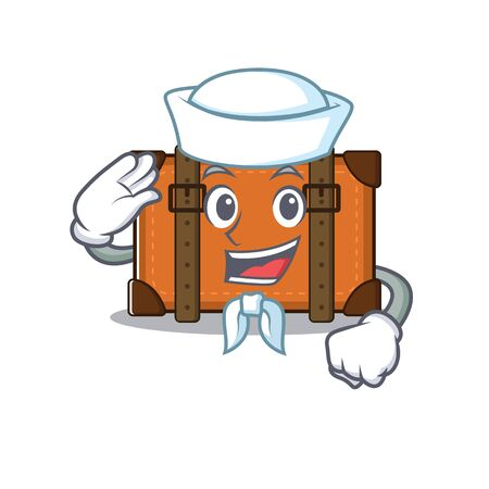 sailor cute suitcase with the cartoon shape vector illustration