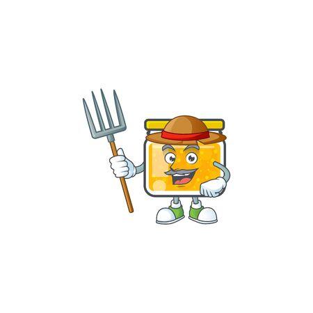Sweet jam cartoon character with mascot farmer vector illustration