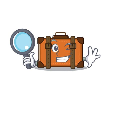 suitcase detective in the cartoon with mascot vector illustration Ilustrace