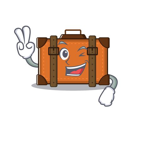 suitcase two finger in the cartoon with mascot vector illustration