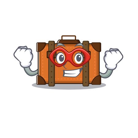 suitcase super hero in the cartoon with mascot vector illustration