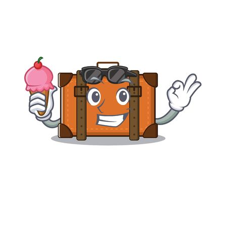 suitcase with ice cream in the cartoon with mascot vector illustration Ilustrace