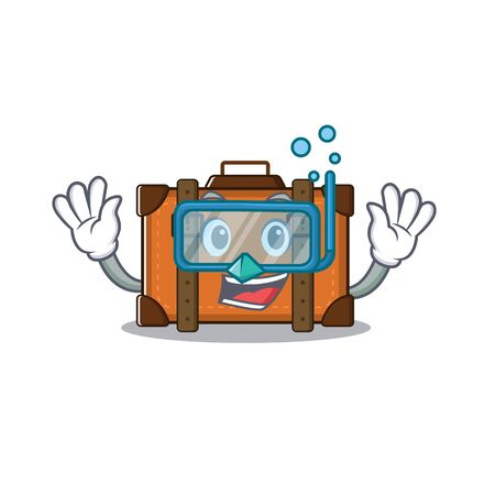 suitcase diving in the cartoon with mascot vector illustration Ilustrace