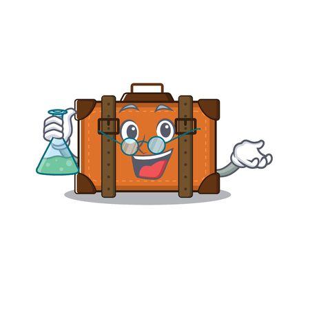 suitcase professor in the cartoon with mascot vector illustration Ilustração