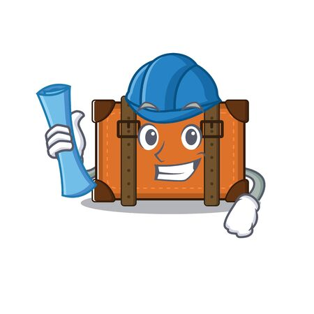 suitcase architect in the cartoon with mascot vector illustration
