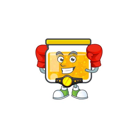 Sweet jam cartoon character with mascot boxing vector illustration
