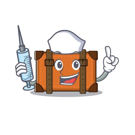 suitcase nurse in the cartoon with mascot vector illustration
