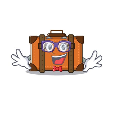 suitcase geek in the cartoon with mascot vector illustration