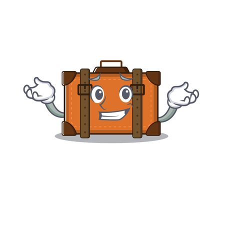 suitcase grinning in the cartoon with mascot vector illustration