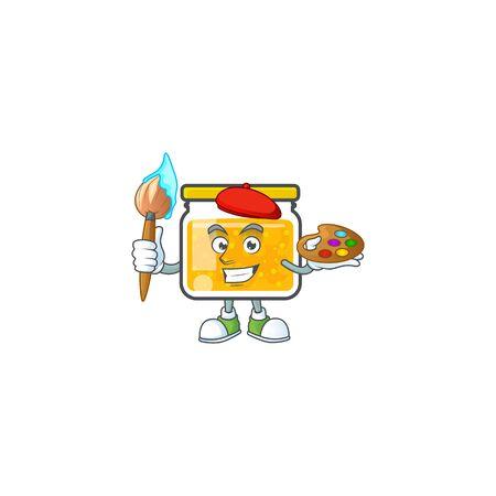 Sweet jam cartoon character with mascot painter vector illustration