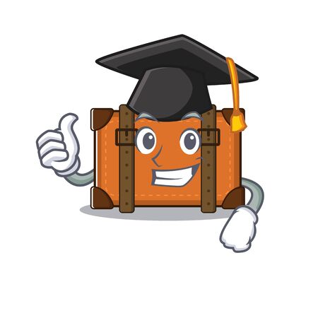 suitcase graduation hat in the cartoon with mascot vector illustration