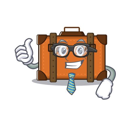 suitcase businessman in the cartoon with mascot vector illustration Ilustrace