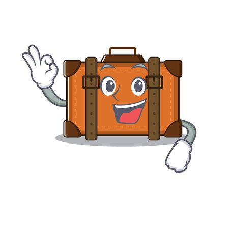 suitcase okay in the cartoon with mascot vector illustration