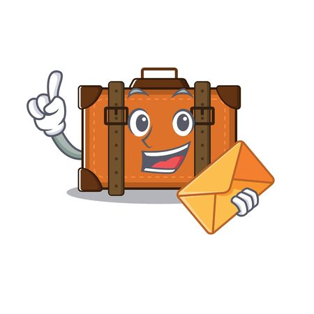 suitcase bring envelope in the cartoon with mascot vector illustration
