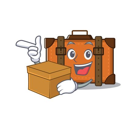 suitcase with bring box in the cartoon with mascot vector illustration