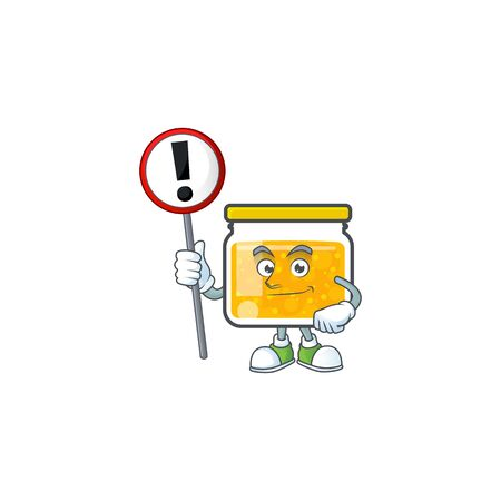 Sweet jam cartoon character with mascot with sign warning vector illustration Illustration
