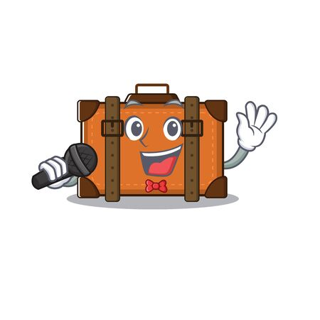 suitcase happy singing on a with character vector illustration Ilustrace