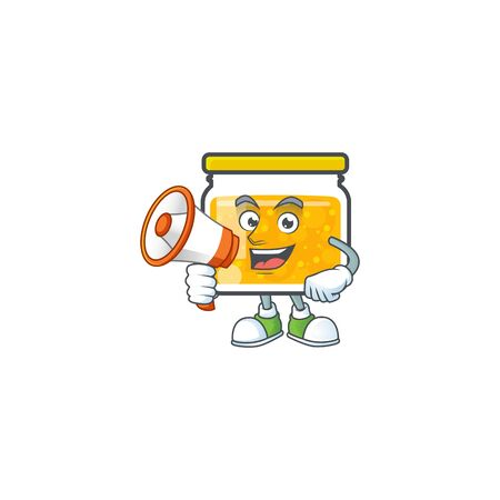 Sweet jam cartoon character with mascot with holding megaphone vector illustration