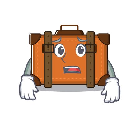 suitcase happy afraid on a with character vector illustration
