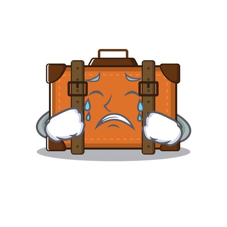 suitcase happy crying on a with character vector illustration Ilustrace