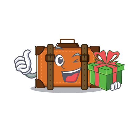 suitcase happy holding gift on a with character vector illustration