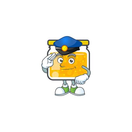 Sweet jam cartoon character with mascot police vector illustration
