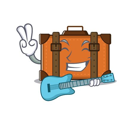 suitcase happy with guitar on a with character vector illustration