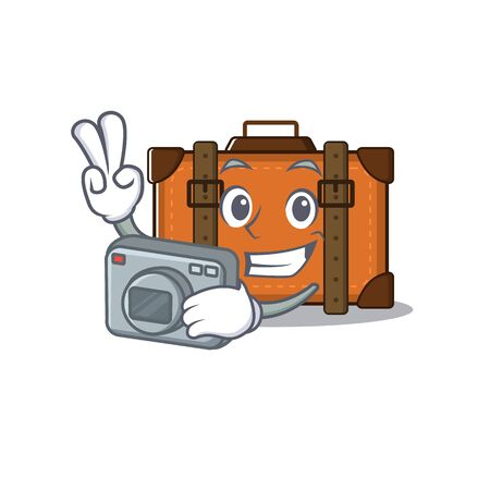 suitcase happy photographer on a with character vector illustration