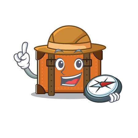 suitcase happy holding compass on a with character vector illustration