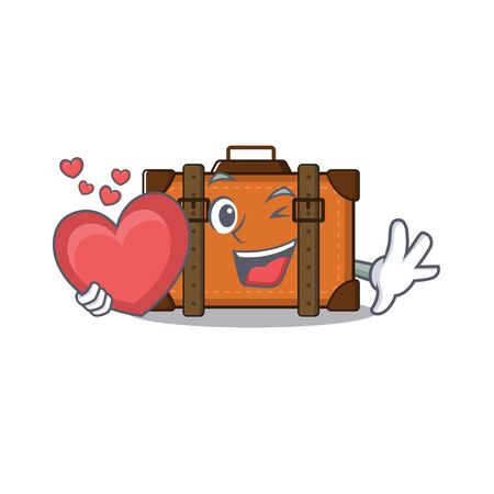 suitcase happy holding heart on a with character vector illustration