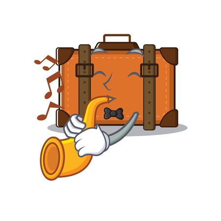 suitcase happy with trumpet on a with character vector illustration