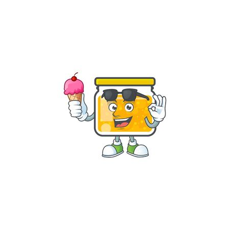 Cute jam in jar with character with ice cream.