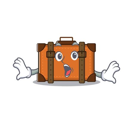 suitcase happy surprised on a with character vector illustration Ilustrace