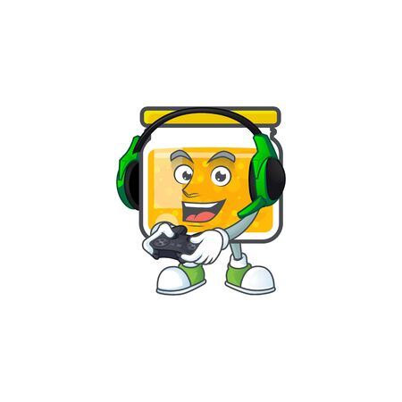 Sweet jam cartoon character with mascot bring gaming vector illustration