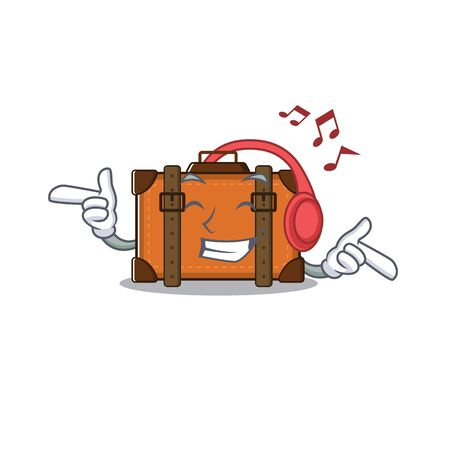 suitcase happy listening music on a with character vector illustration Ilustrace