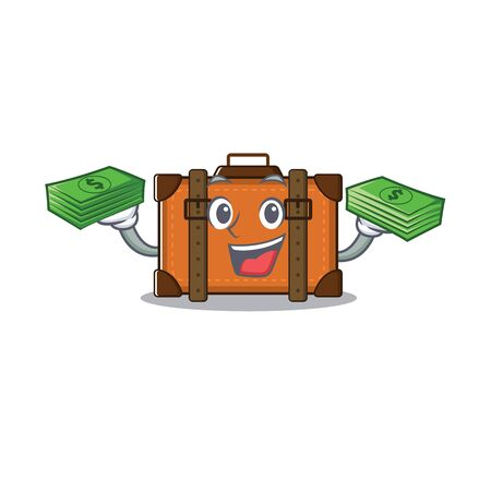 suitcase happy holding money on a with character vector illustration