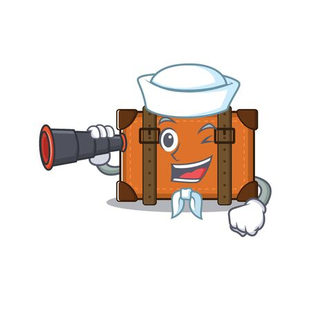 suitcase happy sailor holding binocular on a with character vector illustration