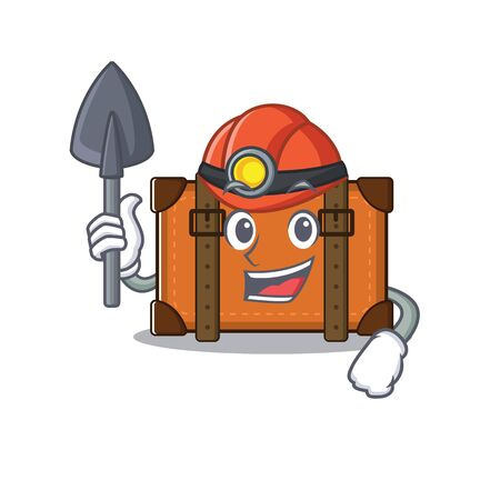 suitcase happy miner on a with character vector illustration Stock Illustratie