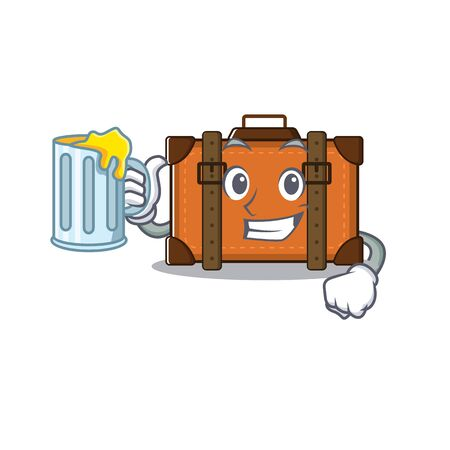 suitcase happy holding juice on a with character vector illustration