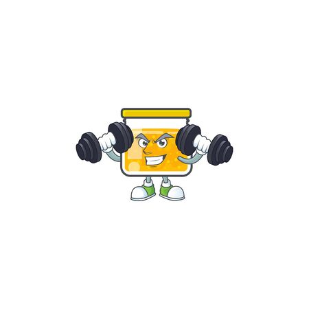 Sweet jam cartoon character with mascot with bring barbell vector illustration Illustration