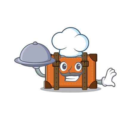 suitcase happy chef holding food on a with character vector illustration Ilustrace