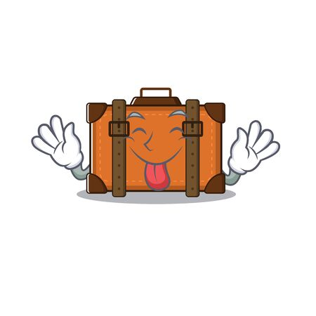 suitcase with in the cartoon shape tongue out vector illustration