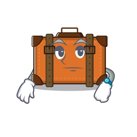 suitcase with in the cartoon waiting shape vector illustration