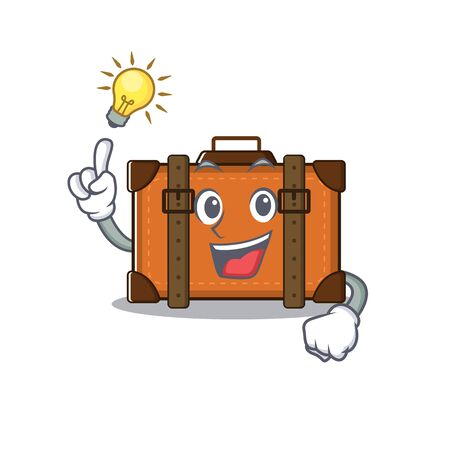 suitcase with in the cartoon have an idea shape vector illustration