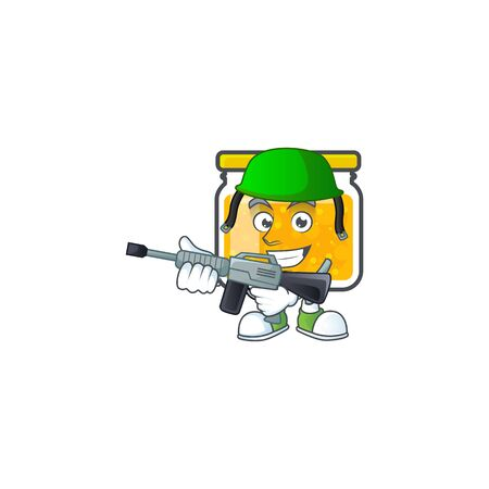 Sweet jam cartoon character with mascot army vector illustration